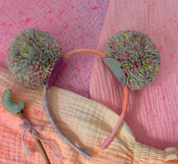 Large Pom Pom Headband. Hand dyed Natural Fibres. Pastel Neon Rainbow.
