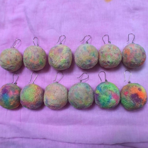 Rainbow Organic Handspun Cotton PomPom Earrings with Sterling Silver