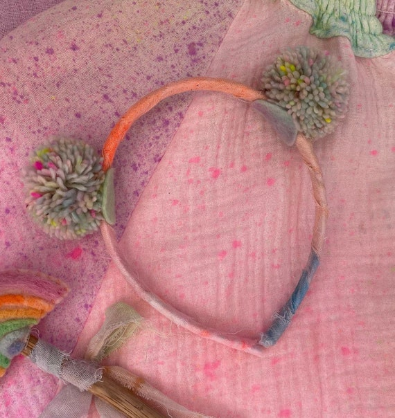 Pom Pom Headband with Hand Dyed Natural Fibres. Pastel Rainbow Symmetrical Small Double Poms.