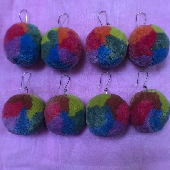 Gradient Rainbow Botanically Dyed Cotton Pom Pom Earrings with Sterling Silver