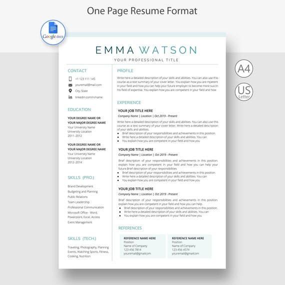 Resume Google Docs Professional Resume Template Resume Etsy Here's how to delete a page in google docs and clean. etsy