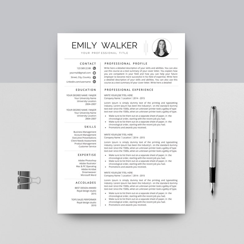 One Page Resume Template | 1 Page CV Template + Cover Letter for Word |  professional resume | Modern Simple Resume | Digital Download