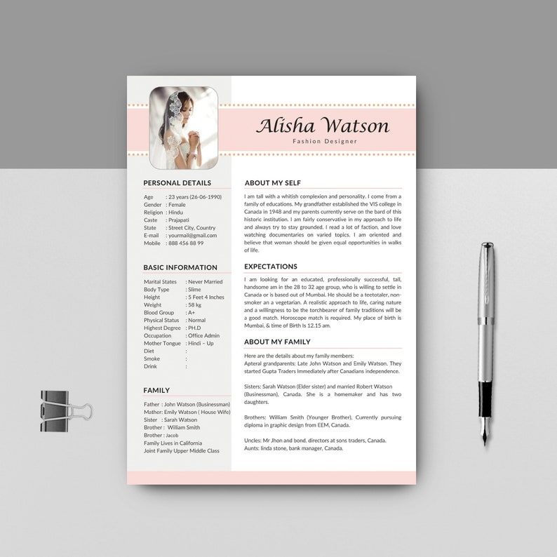 marriage resume template word, resume for marriage, marriage resume,  marriage biodata format, curriculum vitae, cv laout, instant download