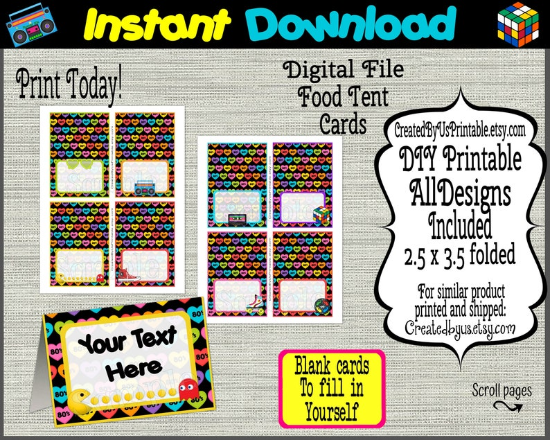 INSTANT DOWNLOAD I Love 80s Birthday Table food Labels EDITABLE 80/'s food tent card Retro place cards Table food cards Digital Download Diy