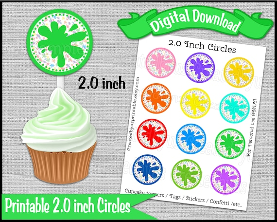 Art Party Cupcake Toppers Paint Splatter Cupcake Toppers Tags Etsy