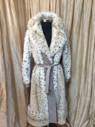 Vintage 1970's Faux Fur Leopard Print Coat UK 8  10 Leather Trim Belted Luxurious Warm Full Length Cream Brown Grey