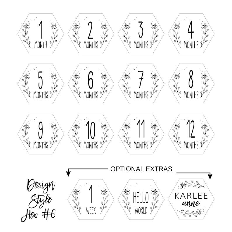 Baby Shower Gift Laser Engraved Baby Milestone Cards  Hexagon Discs Baby Milestone Photos
