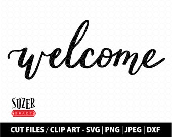 Welcome SVG Cut File, Hand Lettered Welcome design, Welcome SVG for Cricut Glowforge, Welcome Mat Stencil, Welcome Clip Art, Welcome DXF Fil