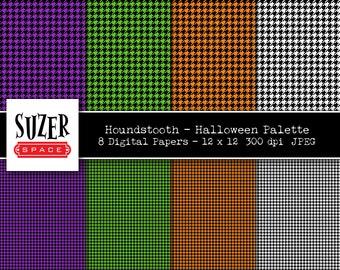 Halloween Houndstooth Digital Paper, Houndstooth Printable Paper Halloween Colors, Orange Houndstooth Purple Houndstooth Green Houndstooth