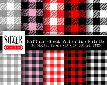 Valentine Digital Paper Buffalo Plaid Buffalo Check Valentine's Day Scrapbook Pattern Clip Art JPEG
