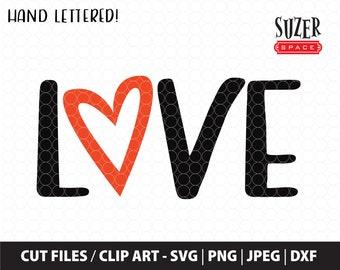 Love SVG design, Valentine's Day Love cut file, Love design for Cricut, Love design for Silhouette, Love Dxf, Heart SVG, Heart cut file