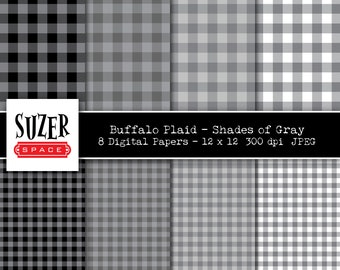 Gray Buffalo Plaid digital paper,  Gray Buffalo Check, Shades of Gray Buffalo Plaid, Grey Digital Paper, Buffalo Plaid Gray Printable Paper