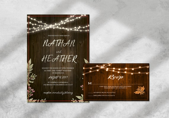 Print Ready Customised Country Wedding Invitation Set Design, Wood, Rustic, Kraft, Invite Design, BONUS RSVP