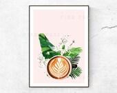 Latte Art Poster Print Fashion Poster Latte Wall Art Kitchen Poster Coffee Print Caffeine Poster Floral Art Pastel Pink