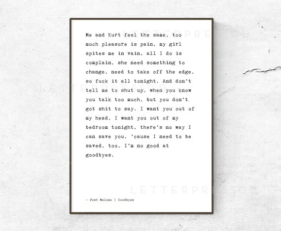 post malone goodbyes lyrics quote poster print song