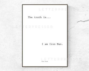 Iron Man / Marvel / The Avengers / poster / print / marvel quote poster / gift ideas / home decor