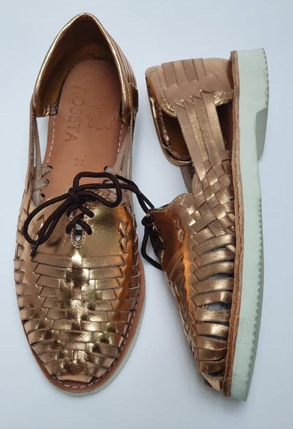 100/% Premium Leather Hand Crafted Mexican Laces Huarache Gold