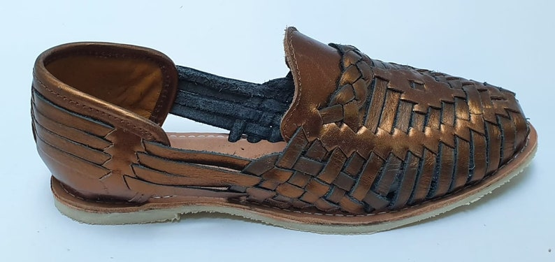 100/% Premium Leather Hand Crafted Mexican Braid Huarache Copper Black