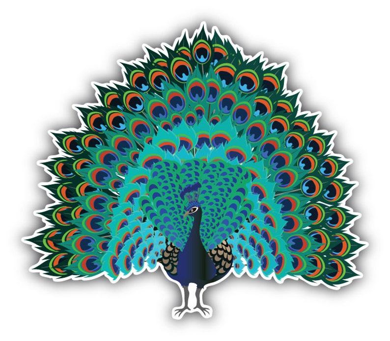 /'/'SIZES/'/' Polygonal Peacock Car Bumper Sticker Decal