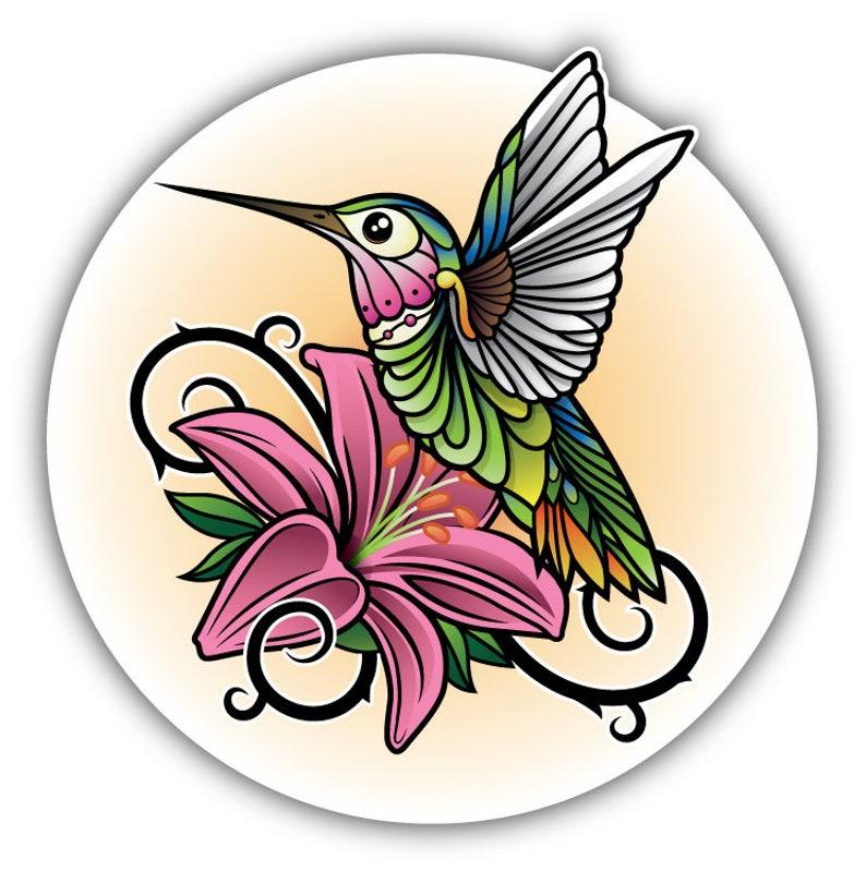 Hummingbird Art Label Car Bumper Sticker Decal 5/'/' x 5/'/'