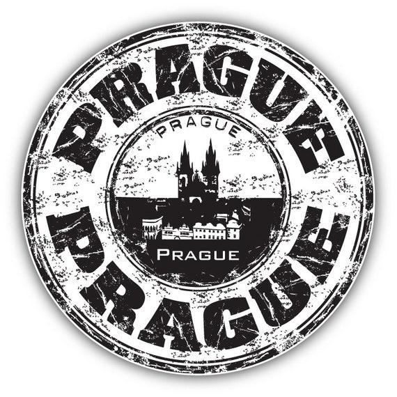 """Prague City Czech Republic Grunge Travel Stamp Car Bumper Sticker Decal 5/"""" x 4/"""""""