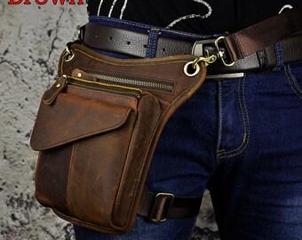 04d352bf33c989 Men's Genuine Leather Bag Fanny Pack Waist Thigh Bum Belt Messenger  Shoulder Bag Travel Motorcycle Crossbody Bag One Shoulder Bag Fashion
