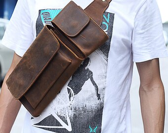 40a3144733e9 Vintage sling bag Vintage Genuine Leather Men Waist Pack Casual  Multi-functions Fanny Pack Belt Bag Male Travel Phone Pouch Shoulder Bag
