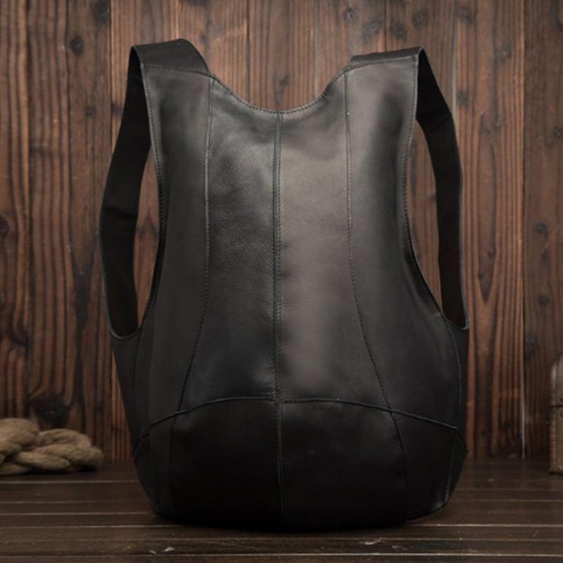 Handmade Backpack Vintage Man Woman Backpack Genuine Leather Black