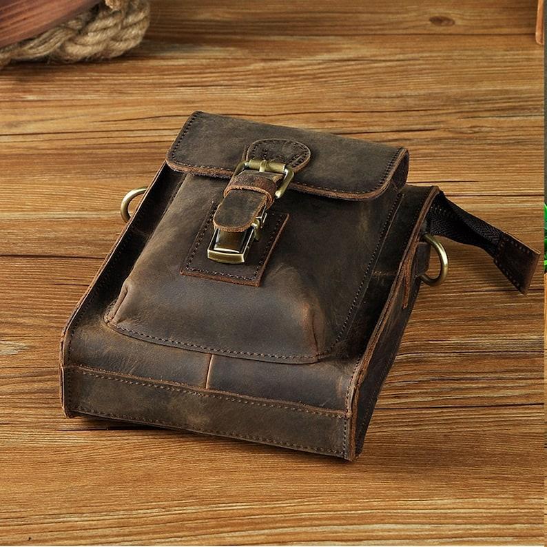 Handmade Vintage Leather Bag Fanny Pack Waist Thigh Bum Belt Messenger Shoulder Bag Travel Motorcycle Crossbody Bag One Shoulder Bag Fashion