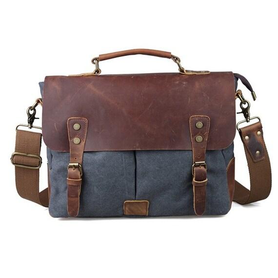 d84834ff15ed Handmade Leather Canvas Leather Messenger Satchel Laptop Messenger Bag  Leather Shoulder Men's Bag Leather Laptop Bag for Men and Women's