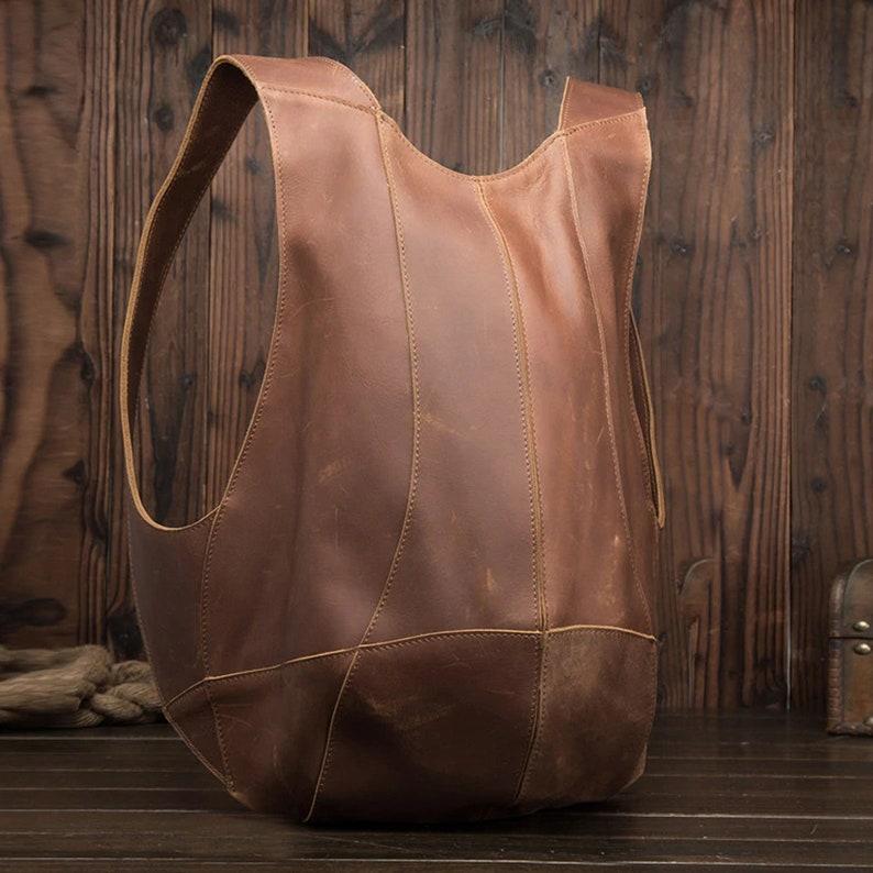 Handmade Backpack Vintage Man Woman Backpack Genuine Leather image 3