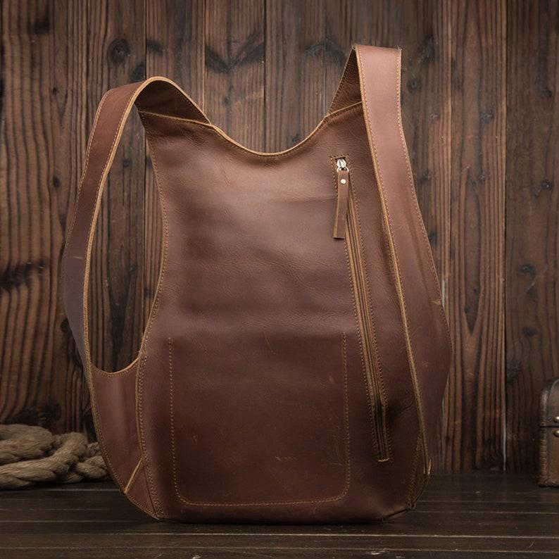 Handmade Backpack Vintage Man Woman Backpack Genuine Leather image 6