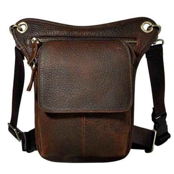 """Mens Genuine Leather Brown 10/"""" Waist Fanny Pack Sling Messenger Shoulder Bags"""