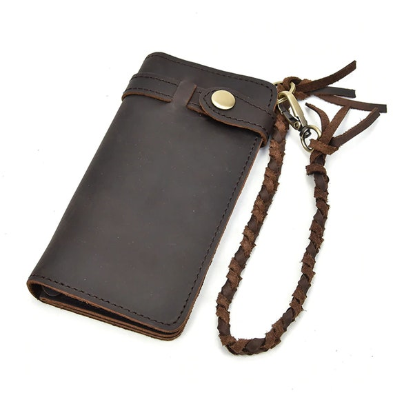Men/'s Genuine Leather Biker Wallet RFID Card Holder Bifold Trucker Chain Purse