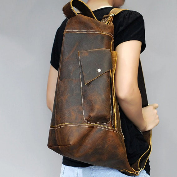 Men Crazy Horse Cowhide Sling Chest Day Back Pack Genuine Leather Crossbody Bag
