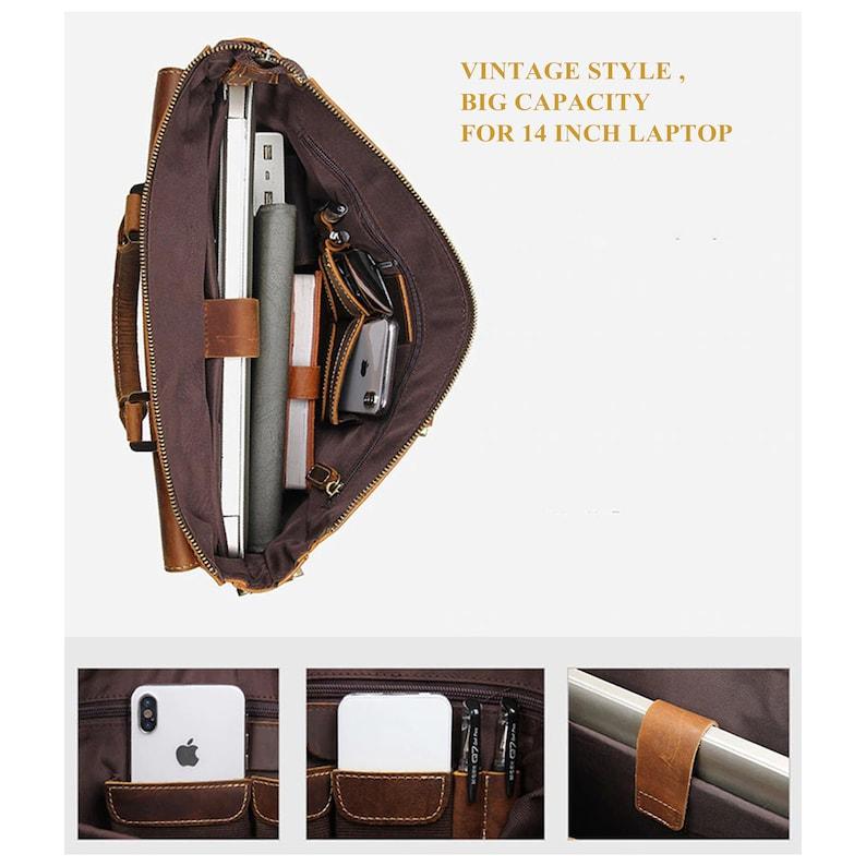 Vintage Men/'s Leather laptop Messenger bag Briefcase Business Messenger Bags Ipad pro leather briefcase,Leather Messenger bag Men laptop