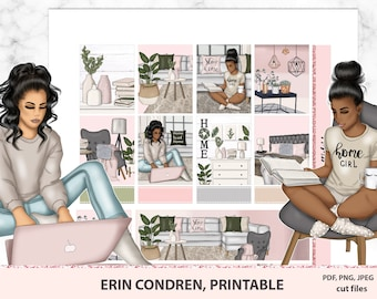 Work from home weekly kit for Erin Condren life planner vertical, ECLP set, Stay home, boss babe, pastel planner sticker kit, Cricut
