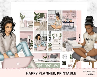 Work from home, Pastel printable sticker kit Classic Happy planner, vertical weekly spread for MAMBI, African American girl, decorative set