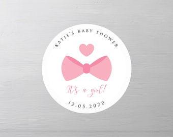 125 Round personalised vintage Blonde Baby Shower party bag labels stickers
