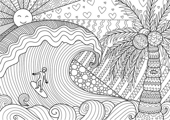 Surfing Coloring Pages For Adults 1 Printable Coloring Page Etsy