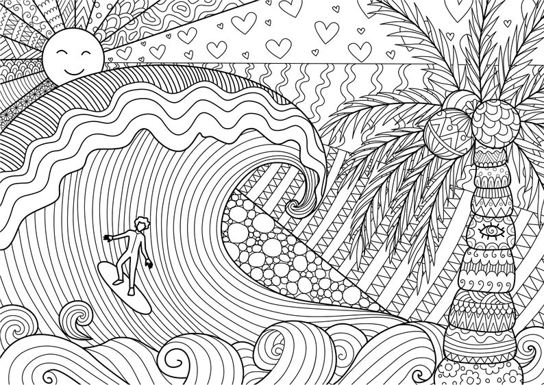 surfing coloring pages printable - photo#20