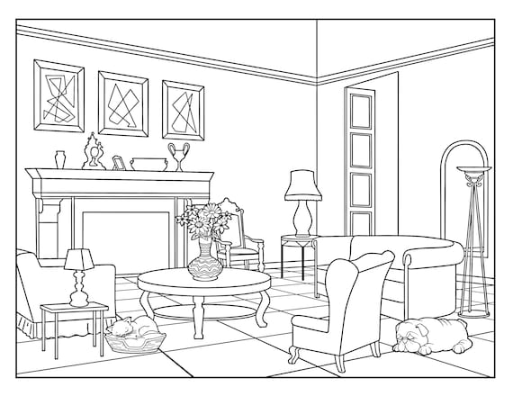 Living Room Around the House Coloring Pages for Adults 1 ...