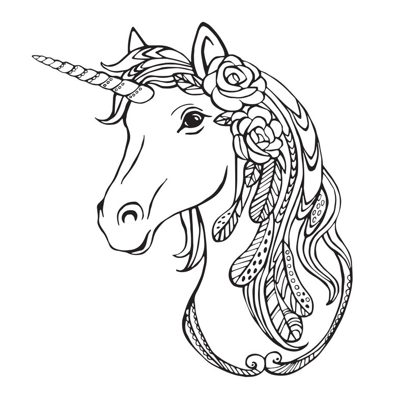 Unicorn Coloring Pages for Adults 2 Printable Coloring | Etsy