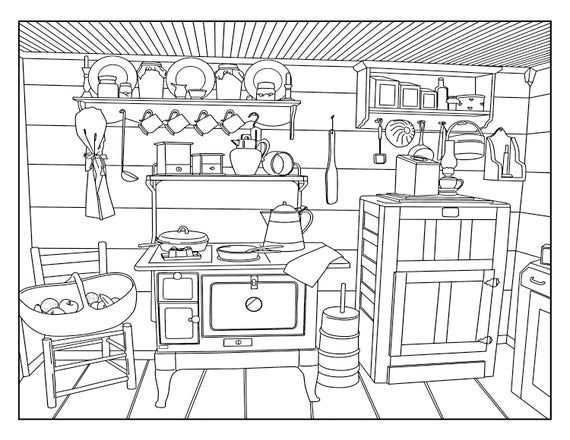 Old Country Kitchen Coloring Pages For Adults 1 Printable Etsy