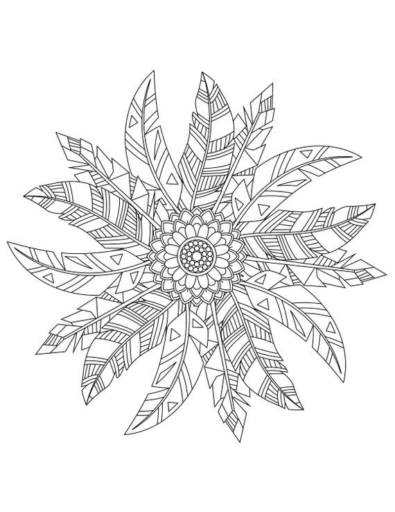 Feathers Coloring Pages For Adults 2 Printable Coloring Pages Instant Download Pdf
