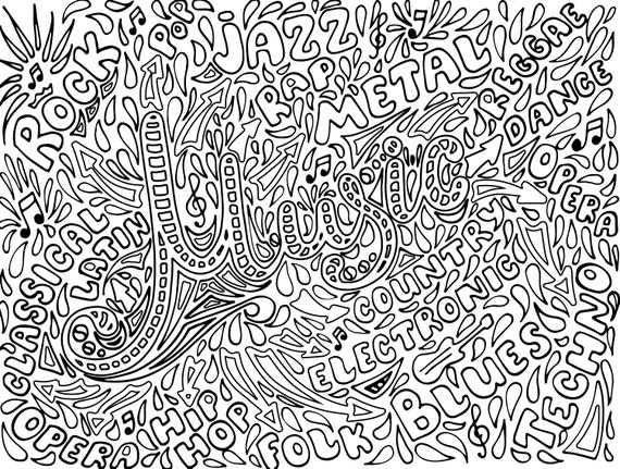 Music Coloring Pages For Adults 1 Printable Coloring Page Etsy