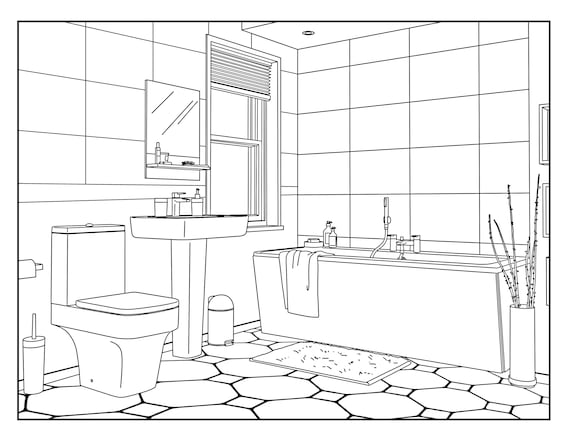 - Bathroom Around The House Coloring Pages For Adults 1 Etsy