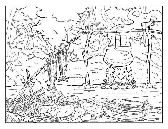 Campfire Coloring Pages For Adults 1 Printable Coloring Etsy