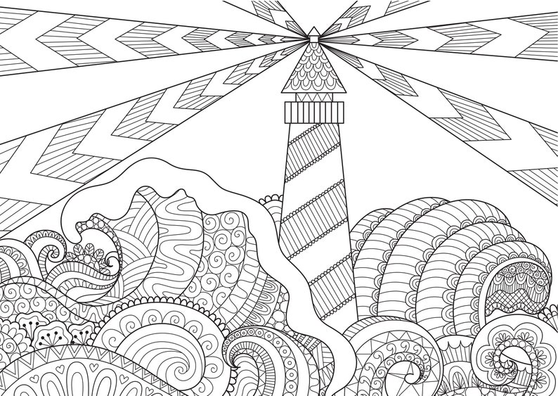 Lighthouse, Coloring Pages for Adults, 2 Printable Coloring Pages, Instant  Download PDF