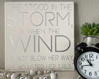 She Stood in The Storm    Baby Girl Nursery   Stong Girls Quote Decor   Little Girls Room Decor   Quote Canvas Wall Art   Minimal Hygge Home